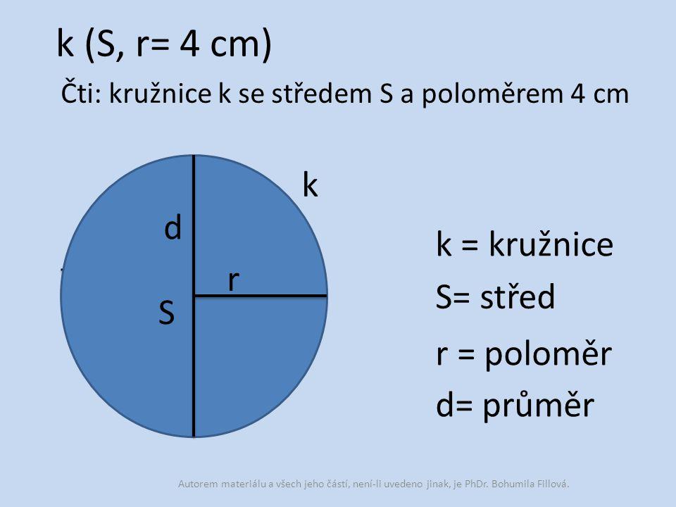 Čti: kružnice k se středem S a poloměrem 4 cm