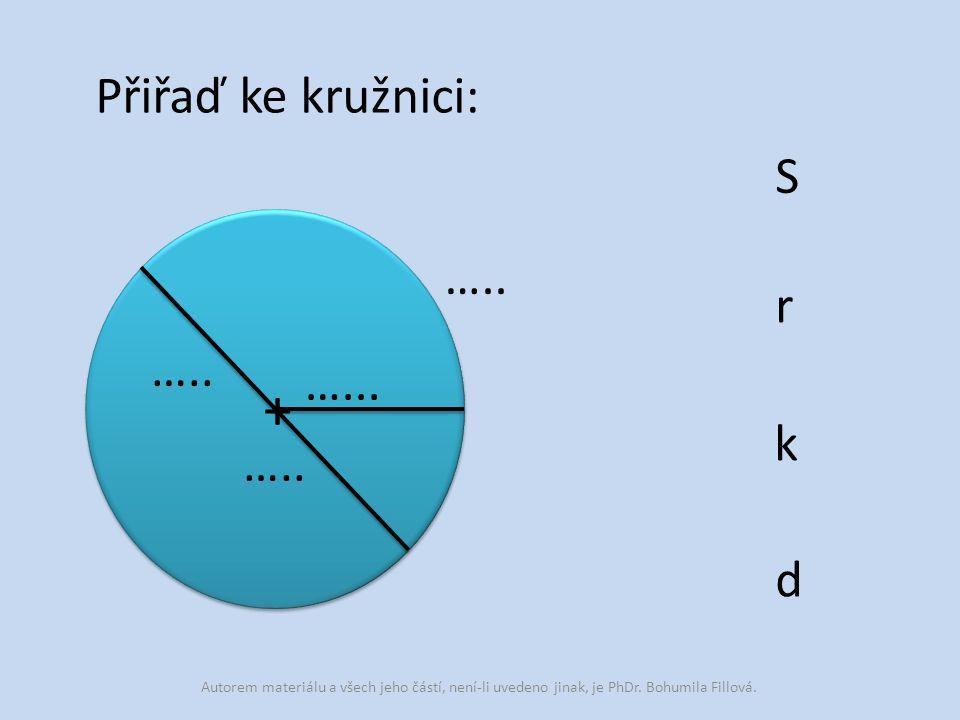 + Přiřaď ke kružnici: S ….. r ….. …... k ….. d