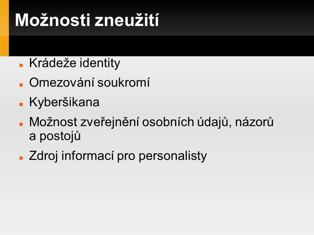 Možnosti zneužití Krádeže identity Omezování soukromí Kyberšikana