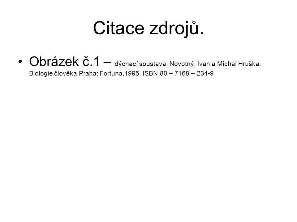 Citace zdrojů. Obrázek č.1 – dýchací soustava, Novotný, Ivan a Michal Hruška.