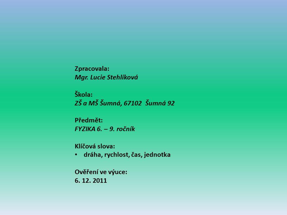 Zpracovala: Mgr. Lucie Stehlíková. Škola: ZŠ a MŠ Šumná, 67102 Šumná 92. Předmět: FYZIKA 6. – 9. ročník.