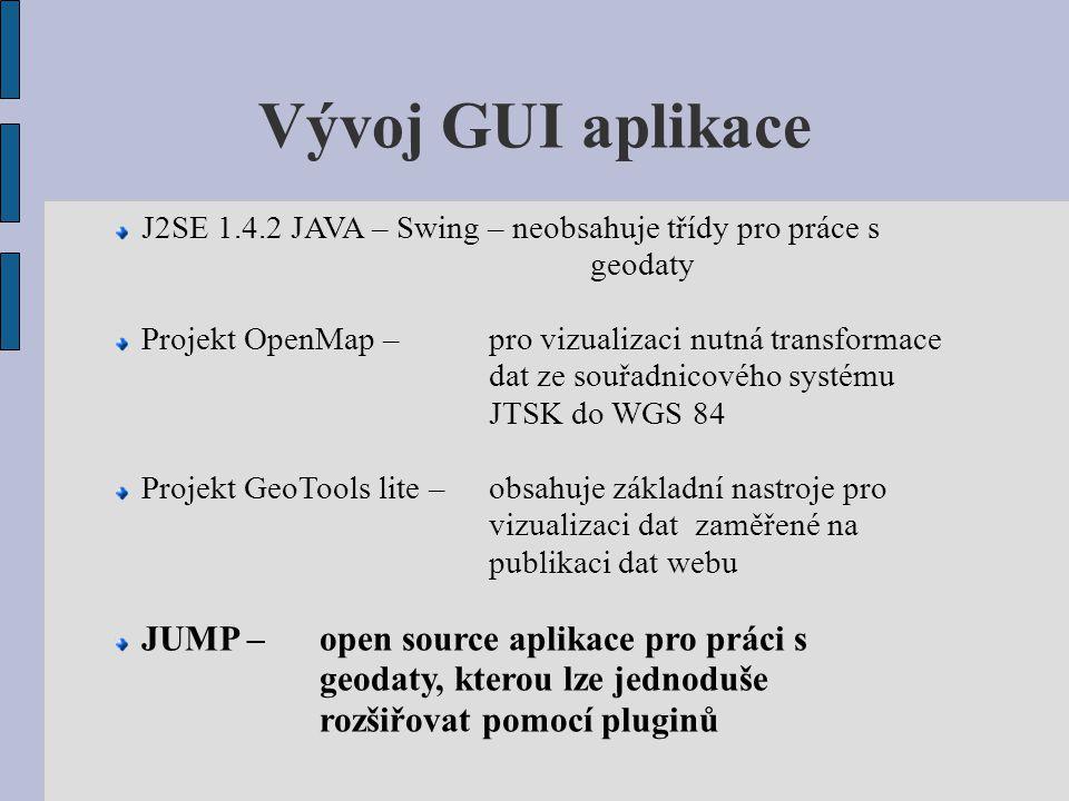 Vývoj GUI aplikace J2SE 1.4.2 JAVA – Swing – neobsahuje třídy pro práce s geodaty.