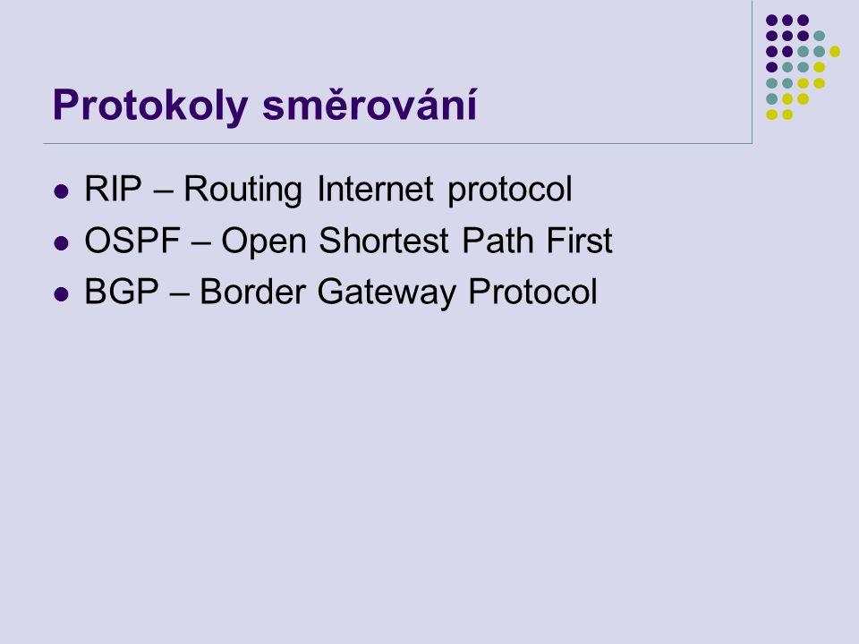 Protokoly směrování RIP – Routing Internet protocol