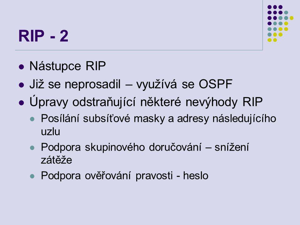 RIP - 2 Nástupce RIP Již se neprosadil – využívá se OSPF