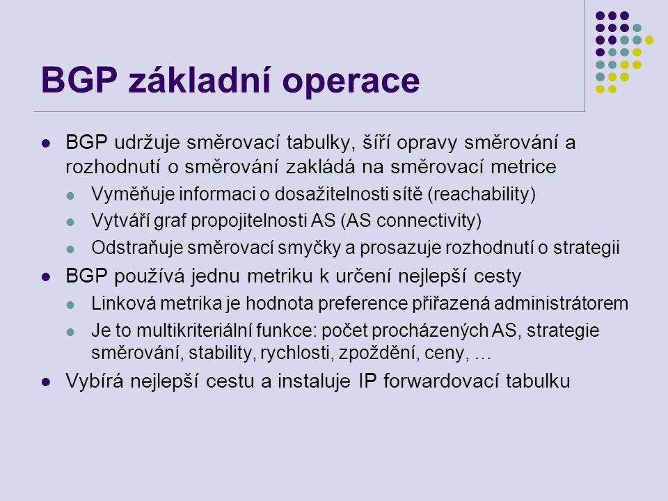 BGP základní operace BGP udržuje směrovací tabulky, šíří opravy směrování a rozhodnutí o směrování zakládá na směrovací metrice.