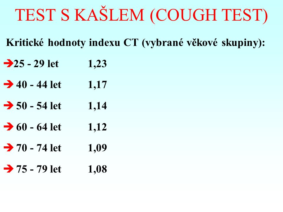 TEST S KAŠLEM (COUGH TEST)
