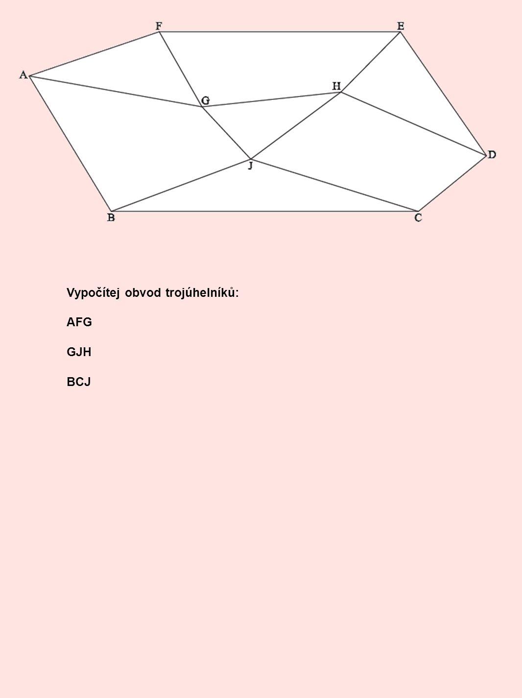 Vypočítej obvod trojúhelníků: