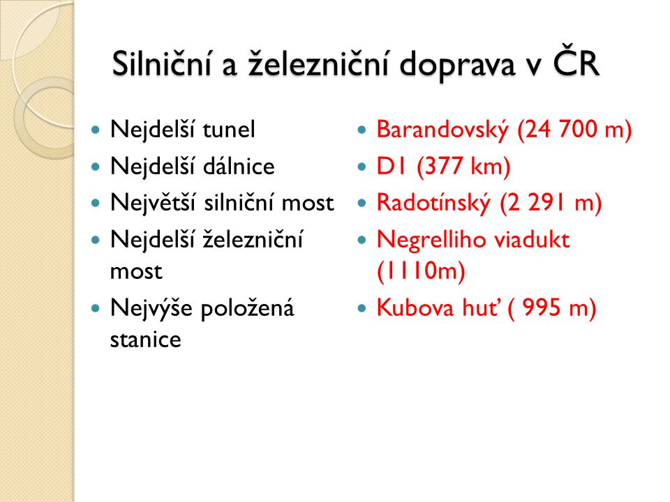 Silniční a železniční doprava v ČR