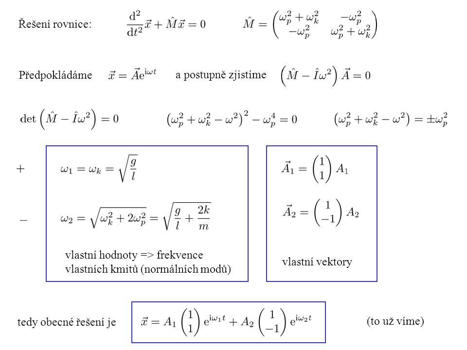Řešení rovnice: Předpokládáme. a postupně zjistíme. vlastní hodnoty => frekvence vlastních kmitů (normálních modů)