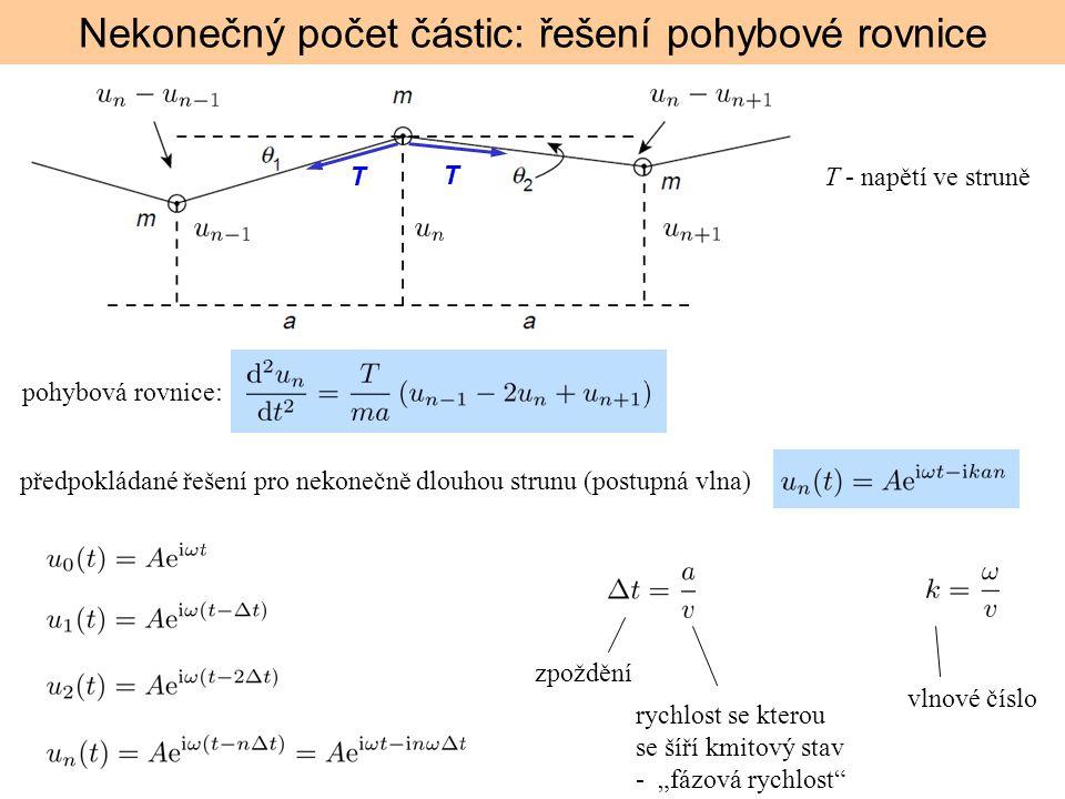 Nekonečný počet částic: řešení pohybové rovnice