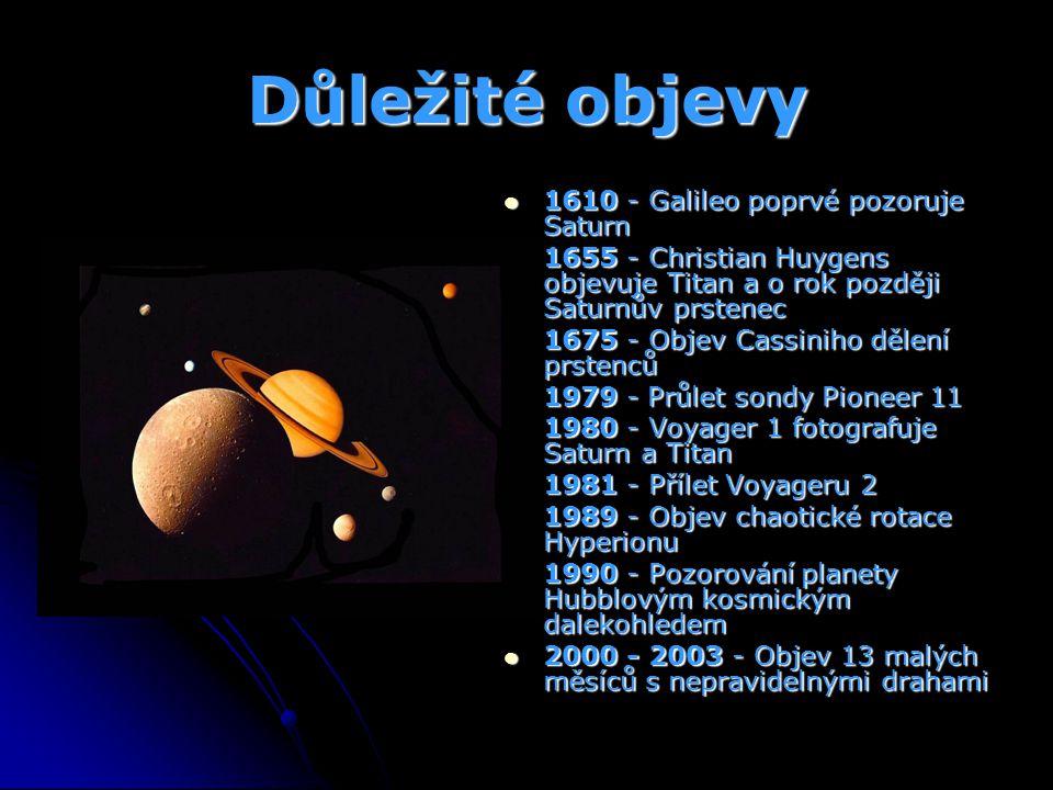 Důležité objevy 1610 - Galileo poprvé pozoruje Saturn