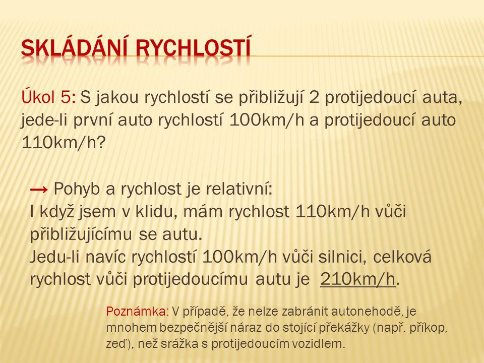 skládání rychlostí Úkol 5: S jakou rychlostí se přibližují 2 protijedoucí auta, jede-li první auto rychlostí 100km/h a protijedoucí auto 110km/h