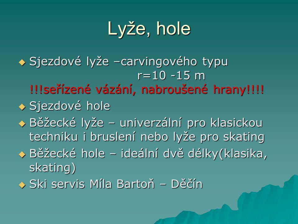 Lyže, hole Sjezdové lyže –carvingového typu r=10 -15 m !!!seřízené vázání, nabroušené hrany!!!!