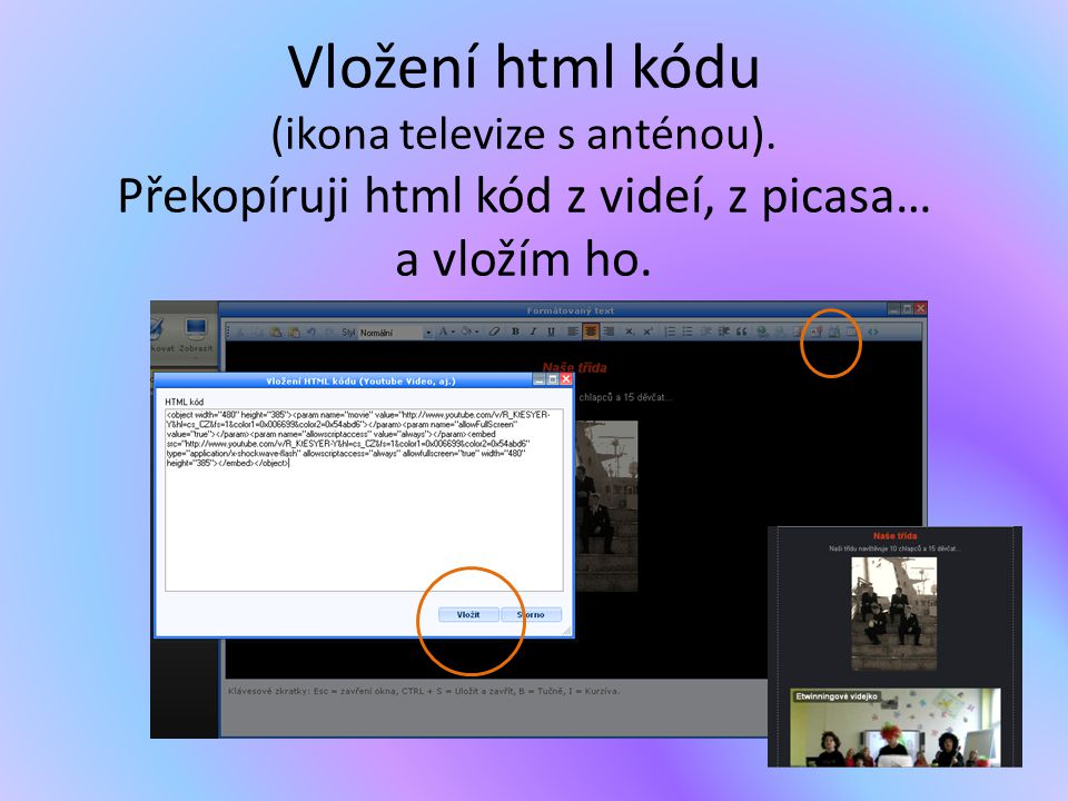 Vložení html kódu (ikona televize s anténou)