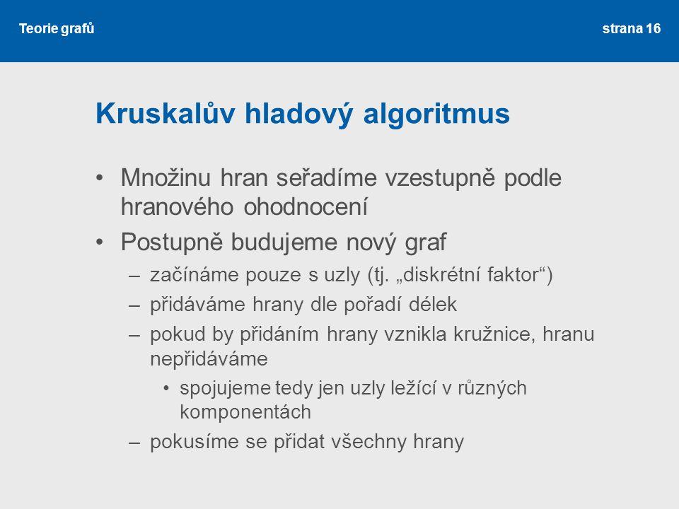Kruskalův hladový algoritmus