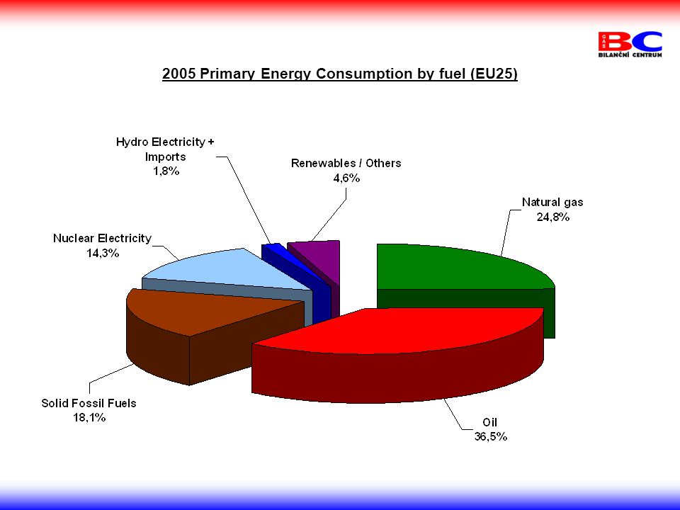 2005 Primary Energy Consumption by fuel (EU25)