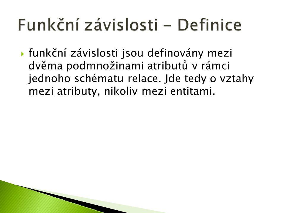 Funkční závislosti - Definice