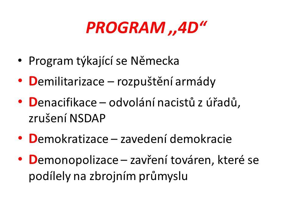 PROGRAM ,,4D Demilitarizace – rozpuštění armády