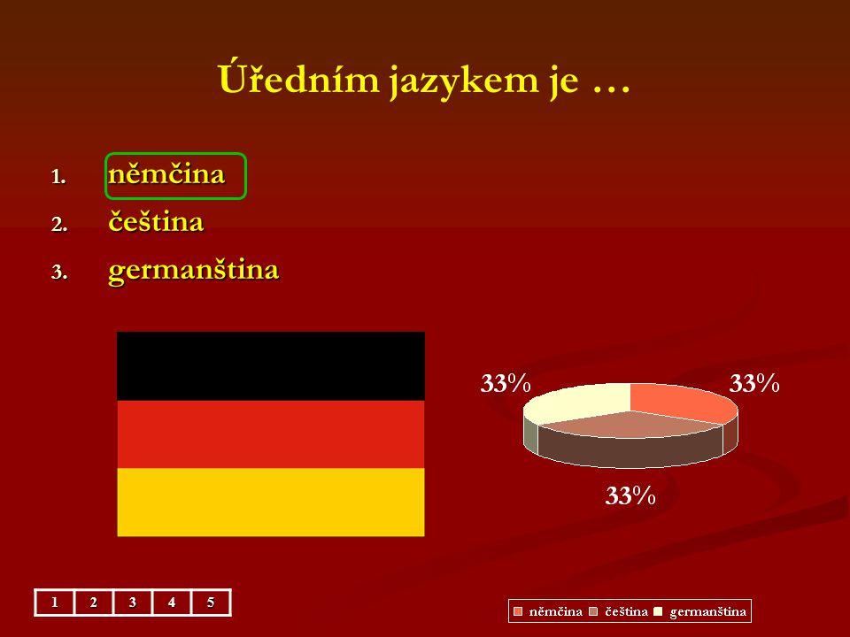 Úředním jazykem je … němčina čeština germanština 1 2 3 4 5