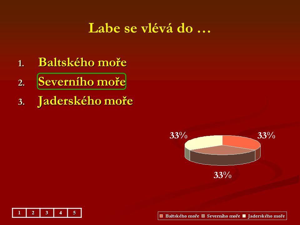 Labe se vlévá do … Baltského moře Severního moře Jaderského moře 1 2 3