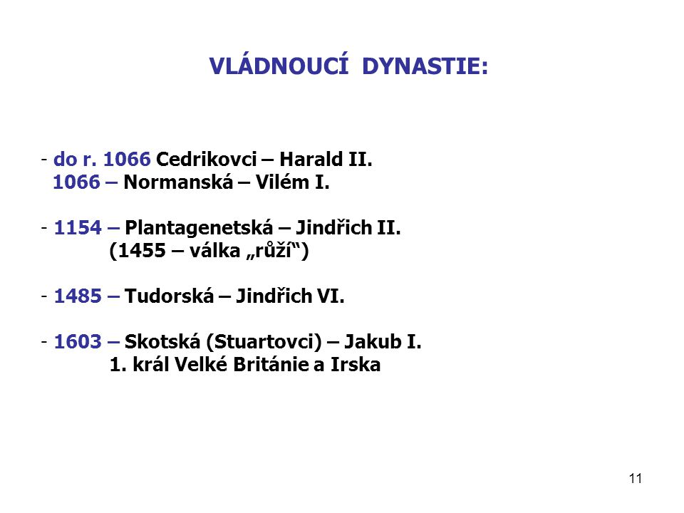 VLÁDNOUCÍ DYNASTIE: do r. 1066 Cedrikovci – Harald II.