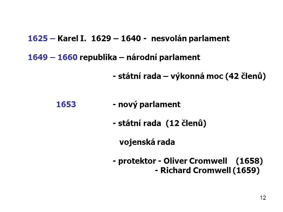 1625 – Karel I. 1629 – 1640 - nesvolán parlament