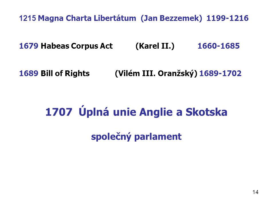 1707 Úplná unie Anglie a Skotska