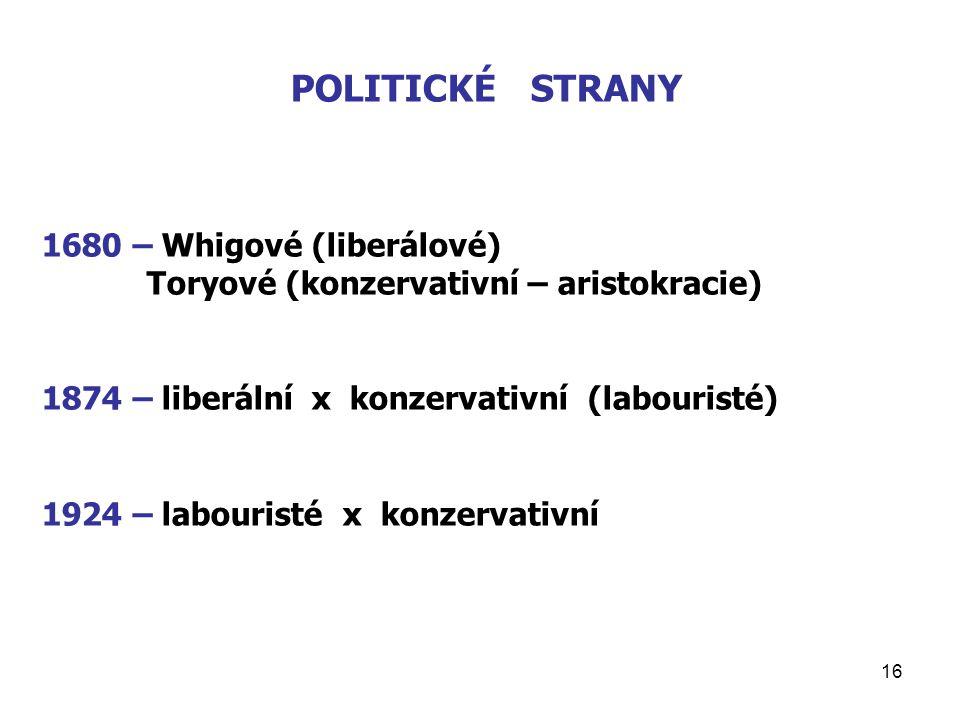 POLITICKÉ STRANY 1680 – Whigové (liberálové)