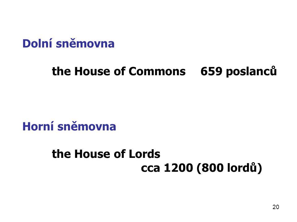 Dolní sněmovna the House of Commons 659 poslanců. Horní sněmovna.