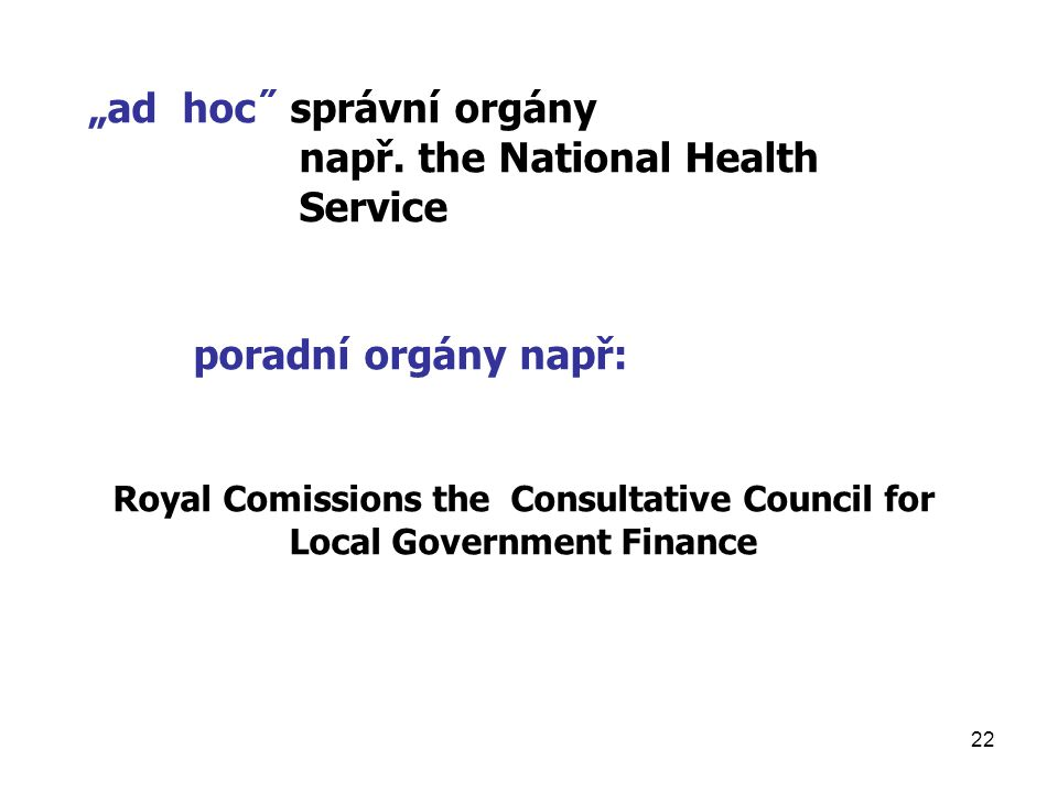 Royal Comissions the Consultative Council for Local Government Finance