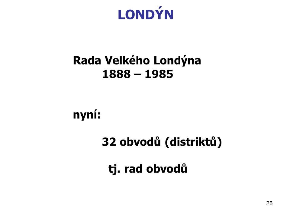 LONDÝN Rada Velkého Londýna 1888 – 1985 nyní: 32 obvodů (distriktů)
