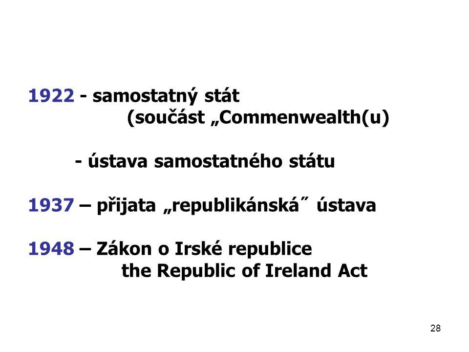 """1922 - samostatný stát (součást """"Commenwealth(u) - ústava samostatného státu. 1937 – přijata """"republikánská˝ ústava."""