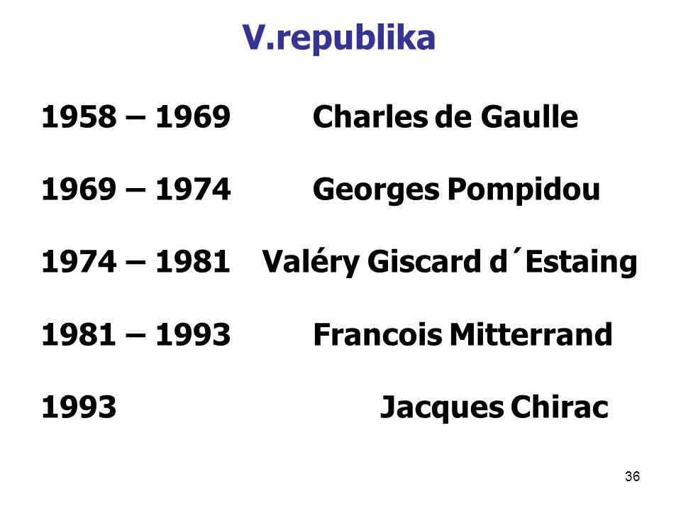 V.republika 1958 – 1969 Charles de Gaulle 1969 – 1974 Georges Pompidou