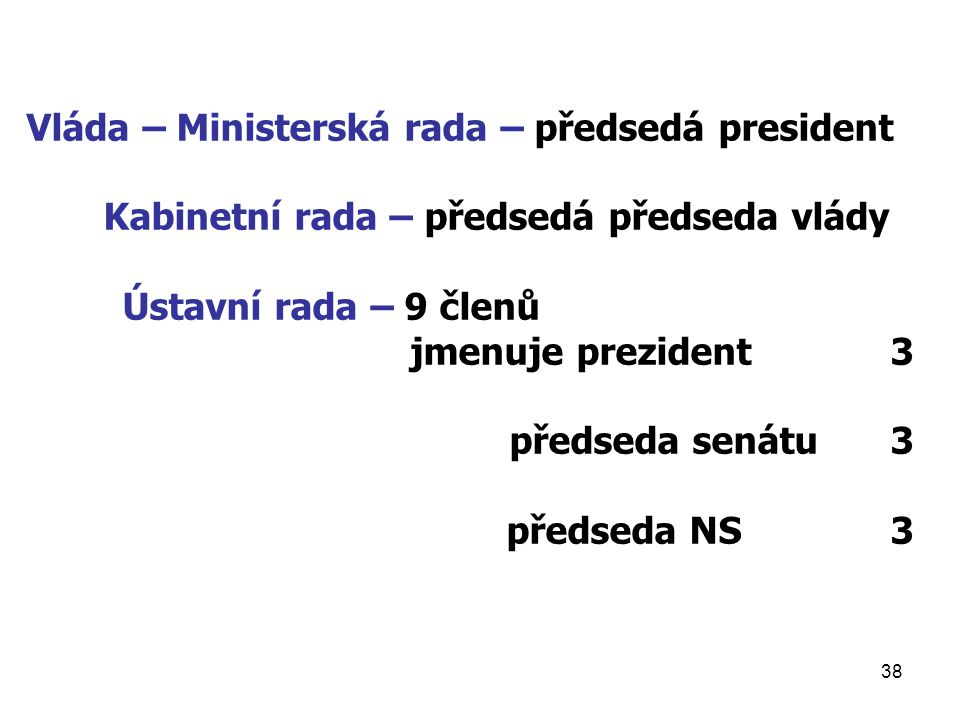 Vláda – Ministerská rada – předsedá president