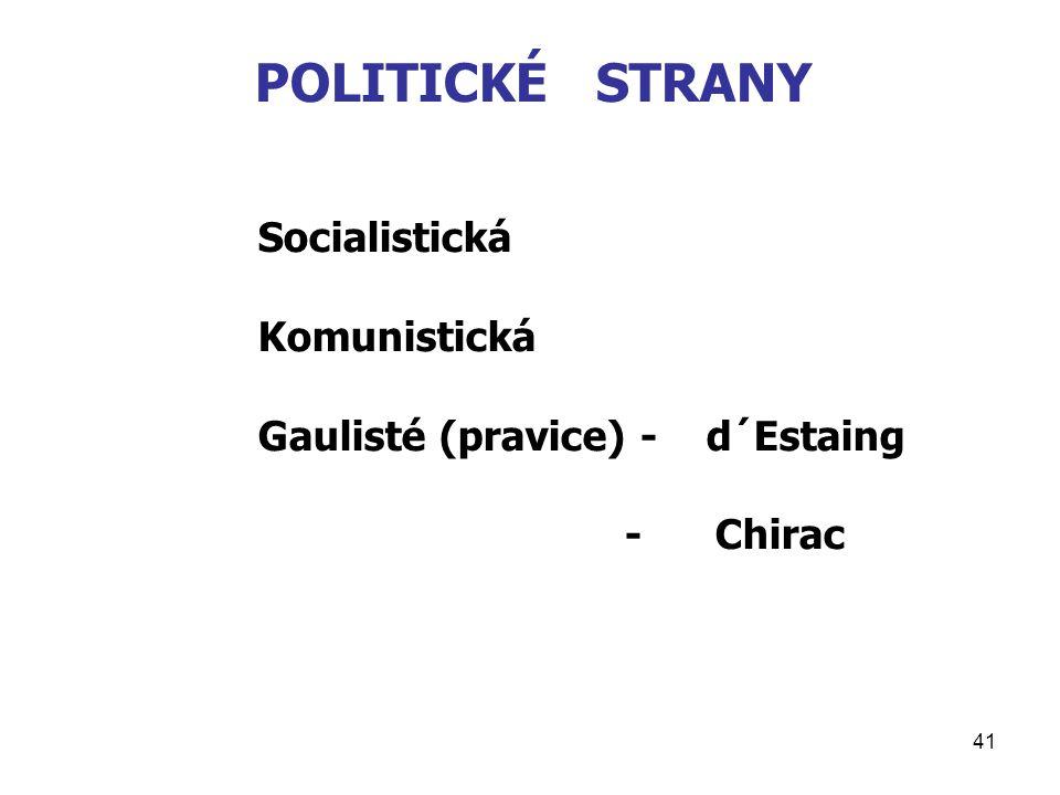 POLITICKÉ STRANY Socialistická Komunistická