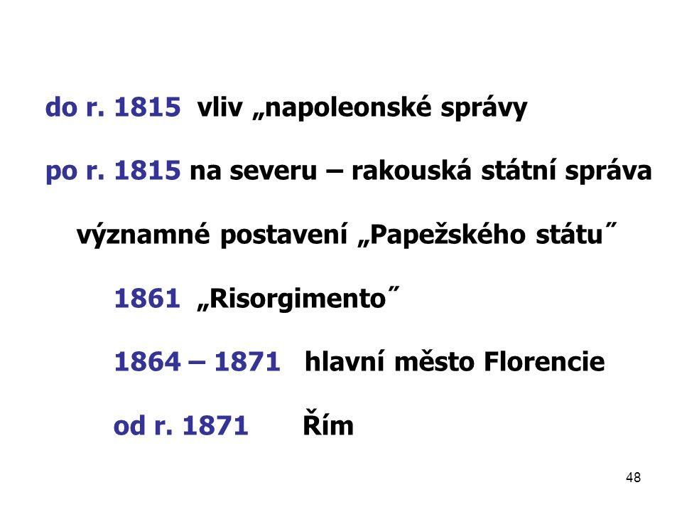 """do r. 1815 vliv """"napoleonské správy"""
