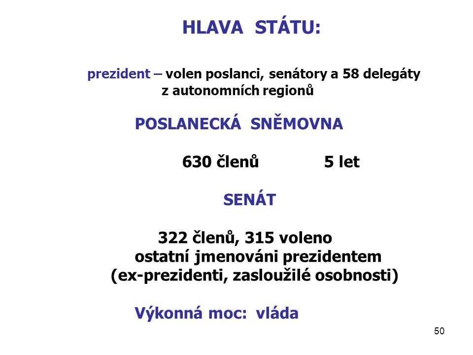 prezident – volen poslanci, senátory a 58 delegáty