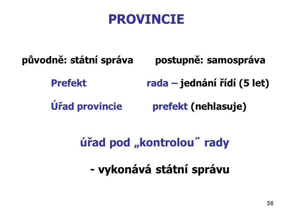 PROVINCIE - vykonává státní správu