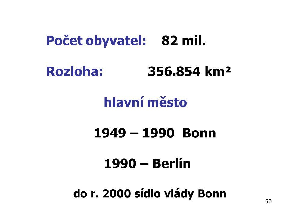 Počet obyvatel: 82 mil. Rozloha: 356.854 km² hlavní město