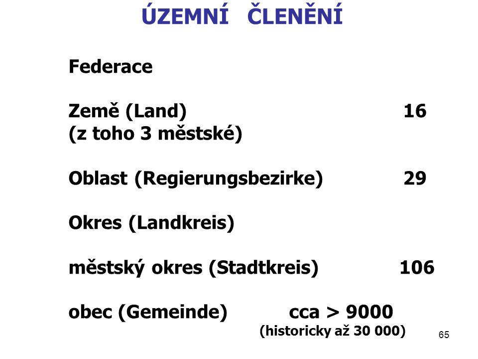 ÚZEMNÍ ČLENĚNÍ Federace Země (Land) 16 Oblast (Regierungsbezirke) 29