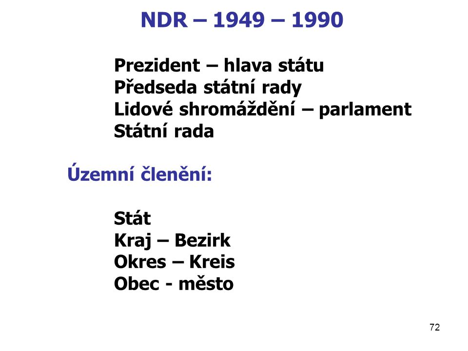 NDR – 1949 – 1990 Prezident – hlava státu Předseda státní rady