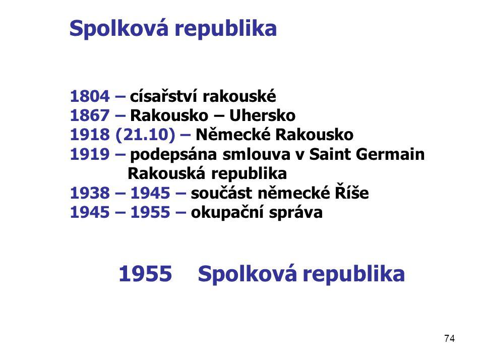 Spolková republika 1804 – císařství rakouské. 1867 – Rakousko – Uhersko. 1918 (21.10) – Německé Rakousko.