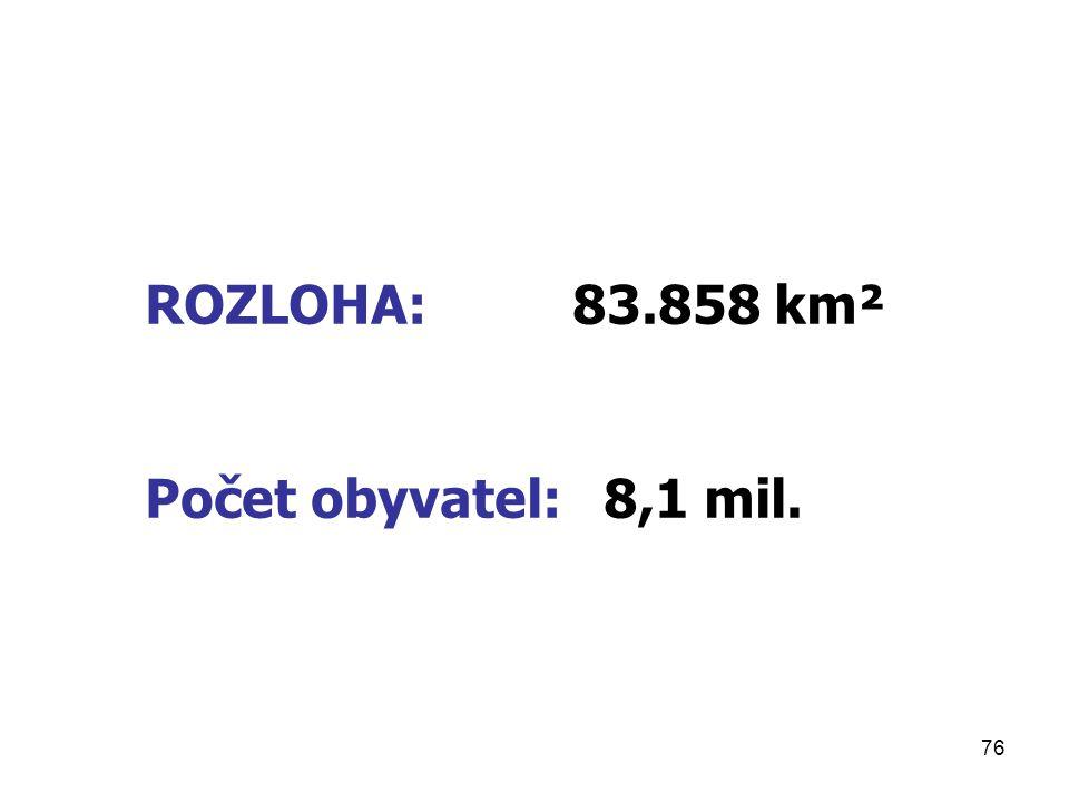 ROZLOHA: 83.858 km² Počet obyvatel: 8,1 mil.