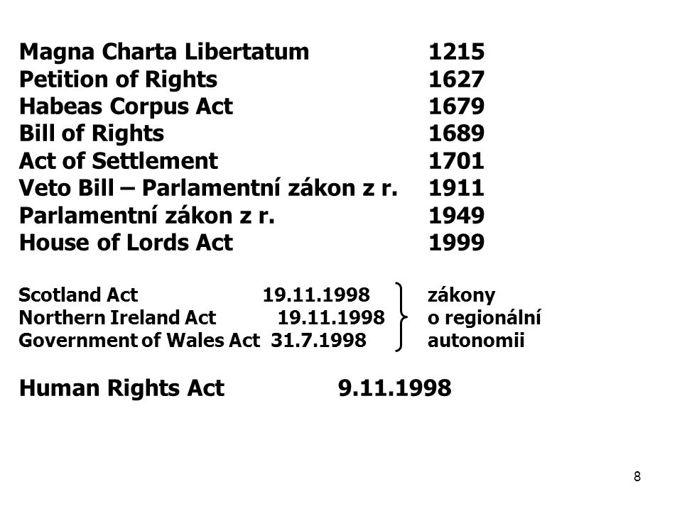 Magna Charta Libertatum 1215 Petition of Rights 1627