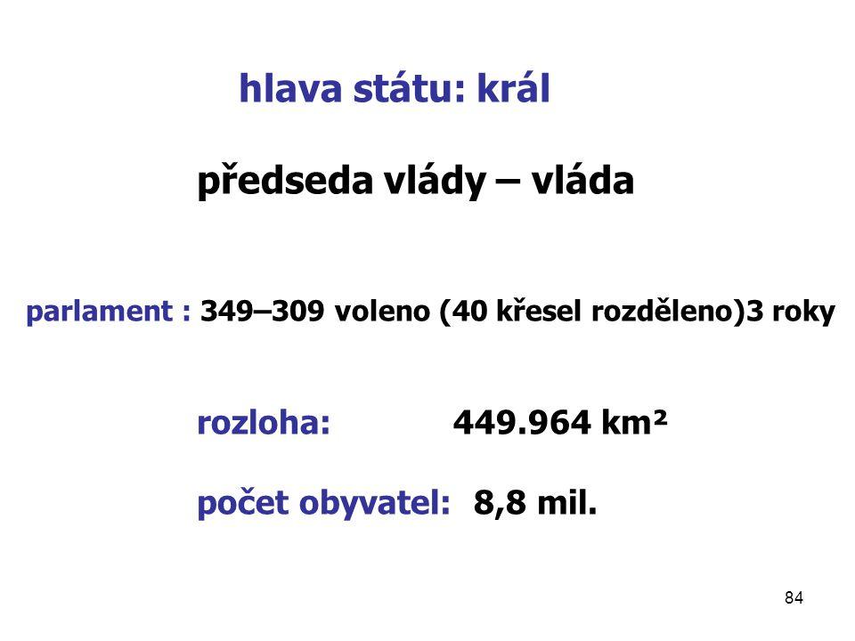 hlava státu: král předseda vlády – vláda rozloha: 449.964 km²