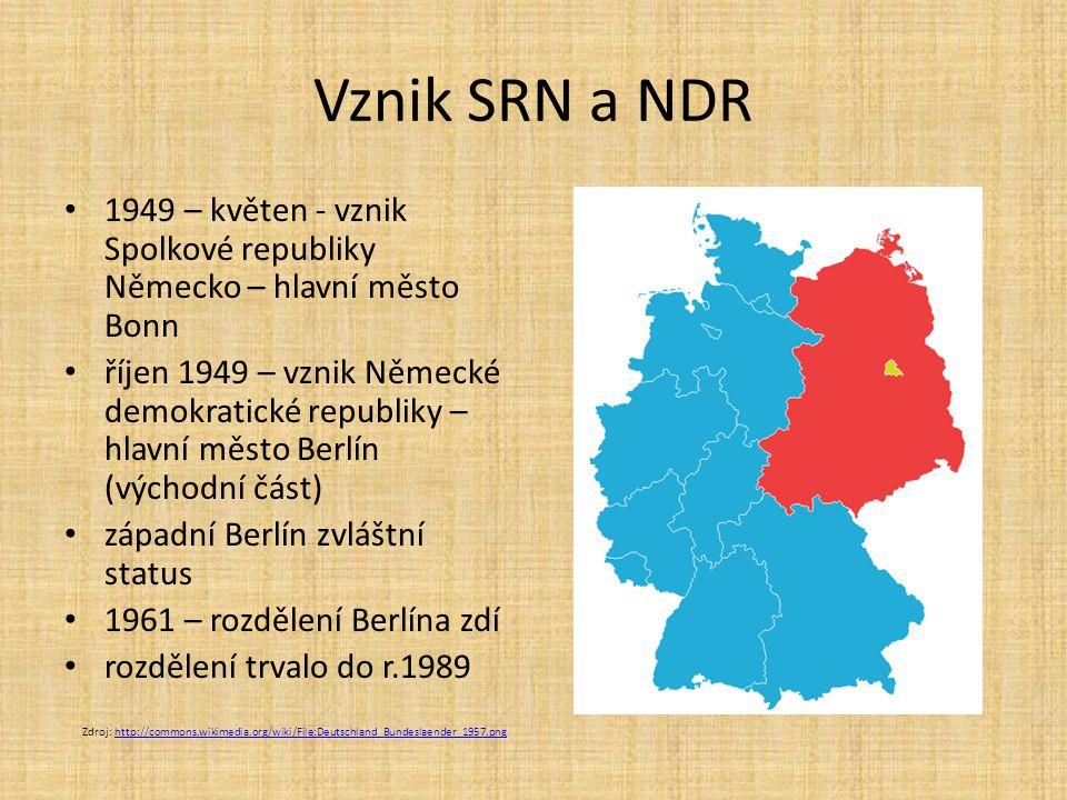 Vznik SRN a NDR 1949 – květen - vznik Spolkové republiky Německo – hlavní město Bonn.