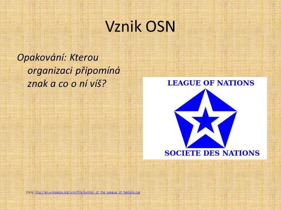 Vznik OSN Opakování: Kterou organizaci připomíná znak a co o ní víš