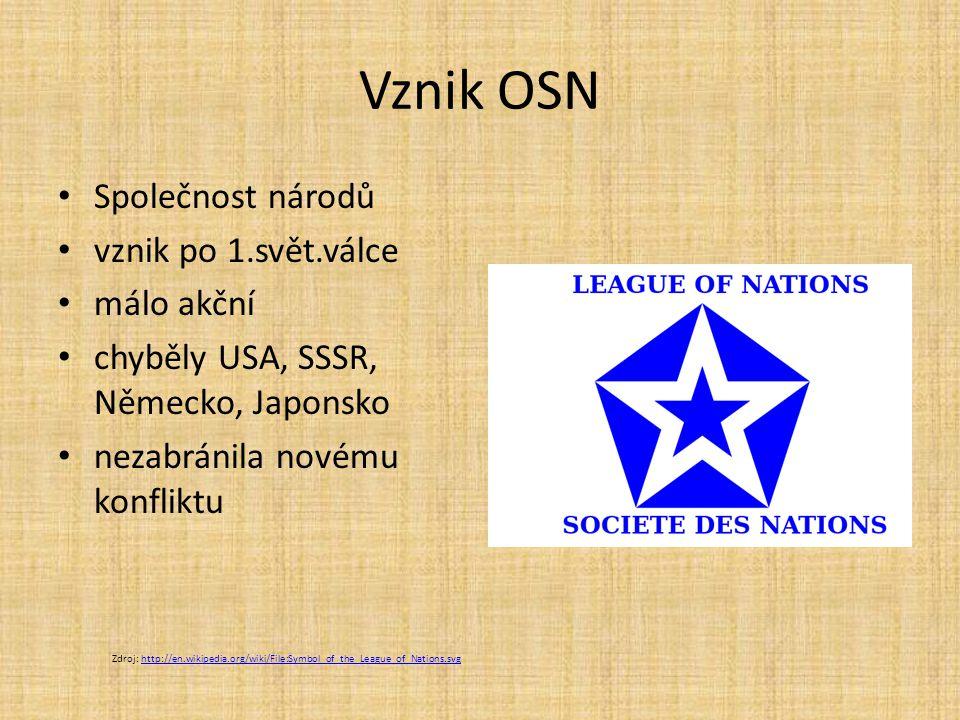 Vznik OSN Společnost národů vznik po 1.svět.válce málo akční