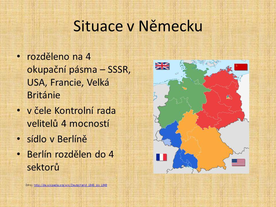 Situace v Německu rozděleno na 4 okupační pásma – SSSR, USA, Francie, Velká Británie. v čele Kontrolní rada velitelů 4 mocností.