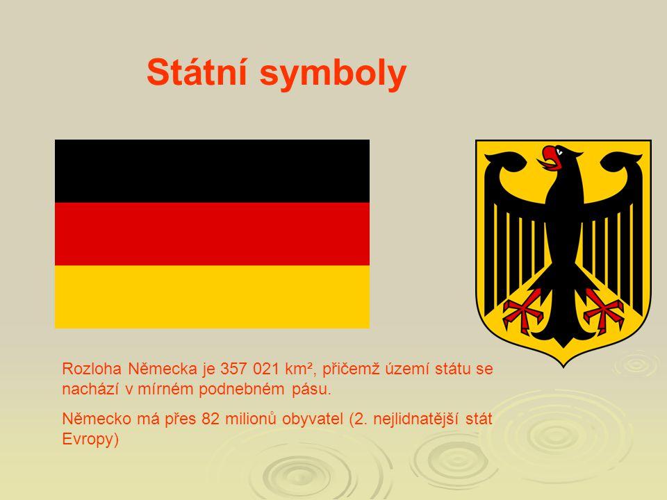Státní symboly Rozloha Německa je 357 021 km², přičemž území státu se nachází v mírném podnebném pásu.